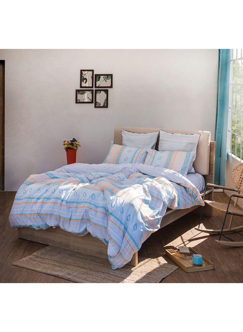 3 Piece Emily Neutral Duvet Cover Set Cotton Blue Orange Price In Uae Noon Uae Kanbkam