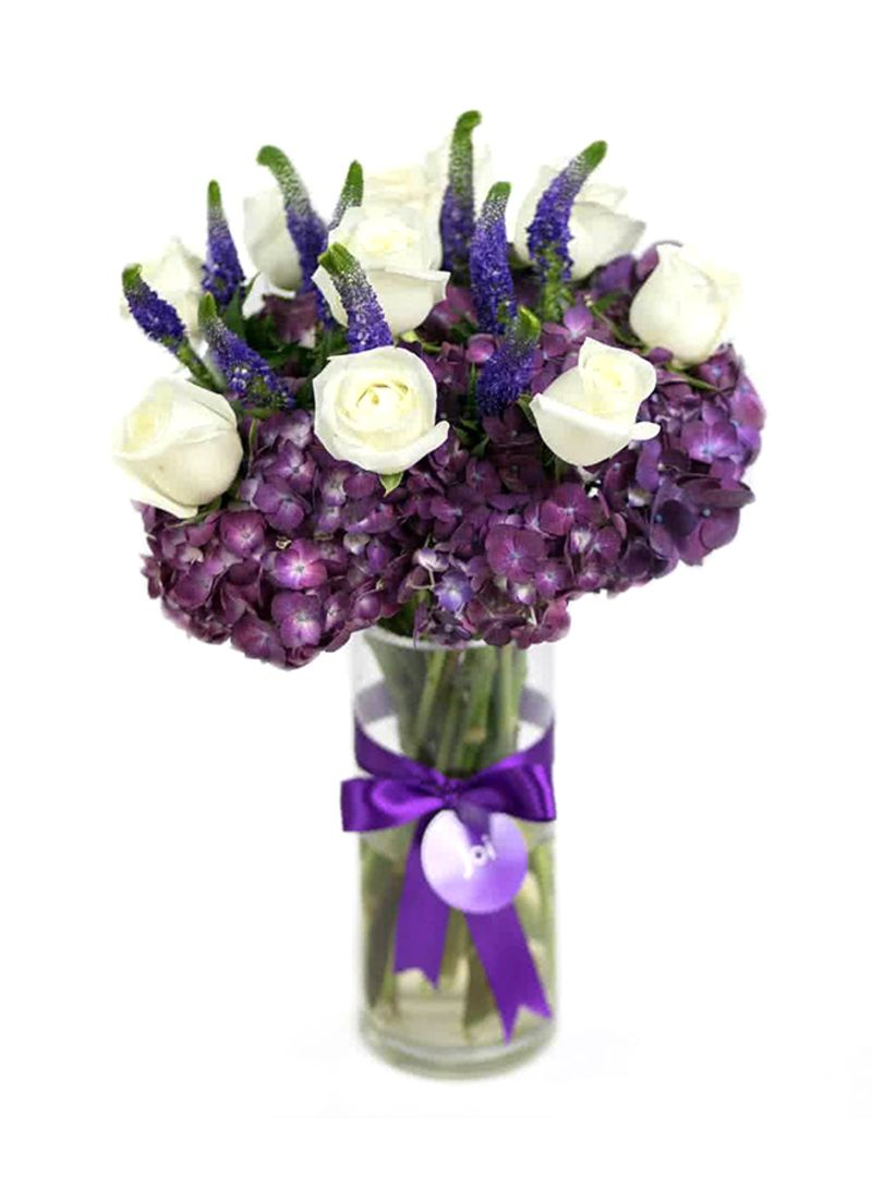 Shop Joi The Forever Noor Flowers With Vase Purplewhitegreen