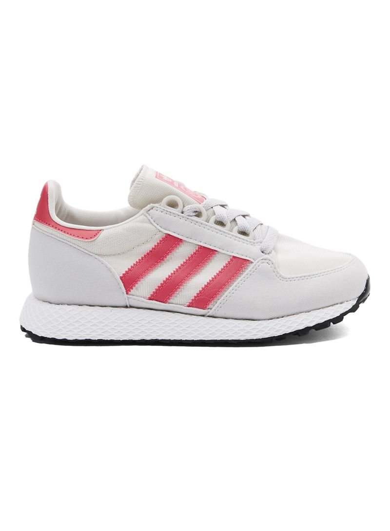 Kids Adidas Forest Grove Youth Trainers Chalk White Real Pink Grey One Kids