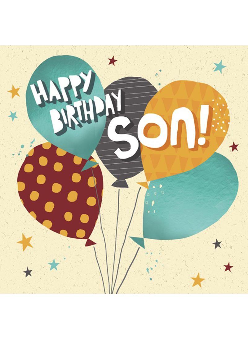 Son Balloons On Cream Happy Birthday Card 159 X Millimeter