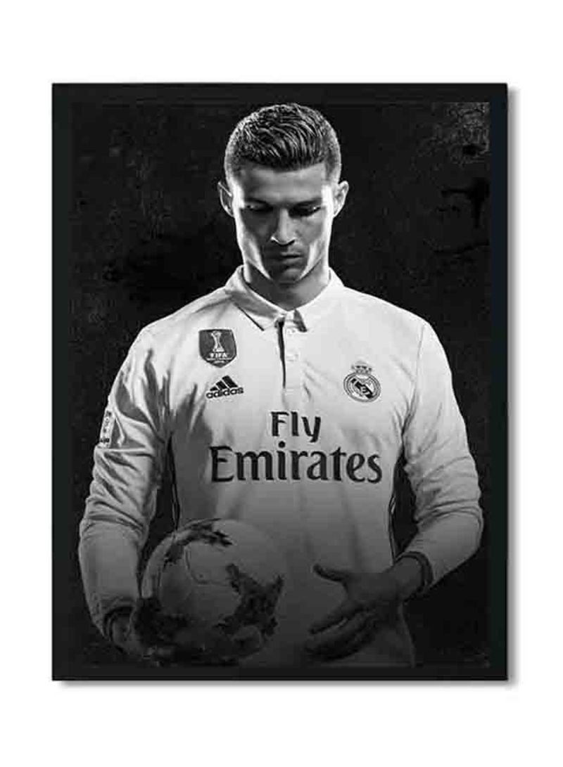 c6c77769a Shop LOWHA Cristiano Ronaldo Poster With Wood Frame Black/White 32 X ...