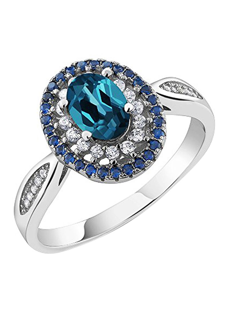 Holiday Sale 1.50Ct Emerald Cut Blue Sapphire /& Zircon Sterling Solitaire Ring