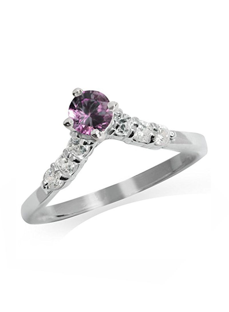 Shop Silvershake 925 Sterling Silver V Shape Ring With Alexandrite