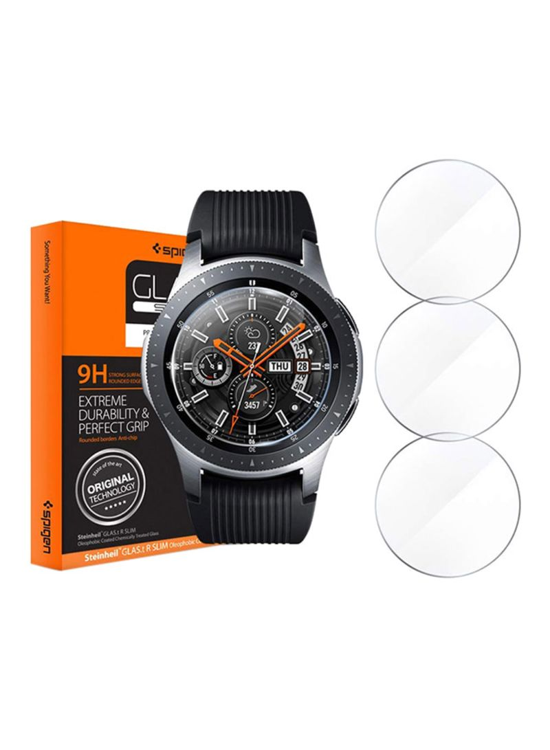 Shop Spigen Pack Of 3 Tempered Glass For Samsung Galaxy Watch 46mm Clear  online in Dubai, Abu Dhabi and all UAE