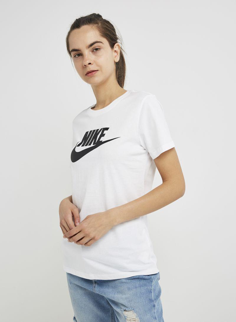 1a36bc96 Shop Nike W NSW ESSNTL ICON FUTURA T-Shirt White/Black online in ...