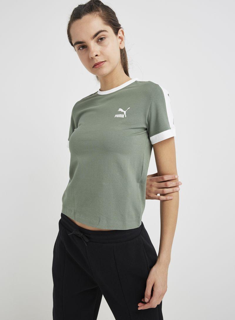2e8b97b39a3 Shop Puma Classics Tight T7 T-Shirt Laurel Wreath online in Dubai ...