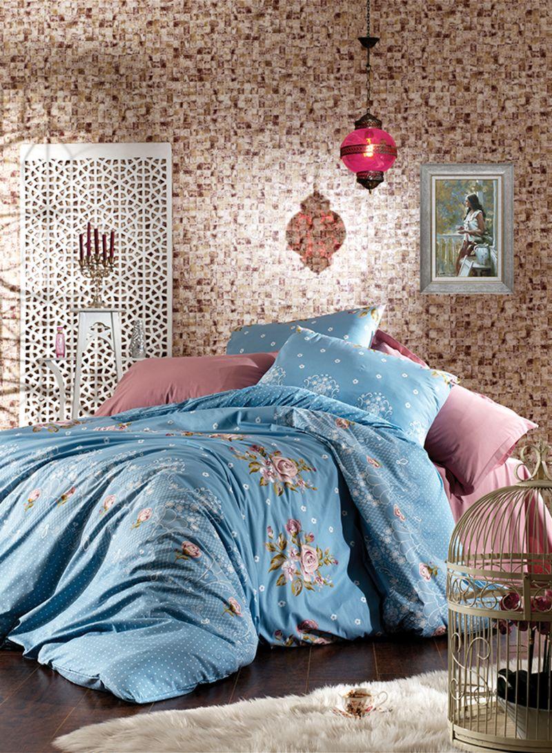 4 Piece Floral Turkish Cotton Duvet Cover Set With Fitted Sheet Blue Pink King Price In Saudi Arabia Noon Saudi Arabia Kanbkam