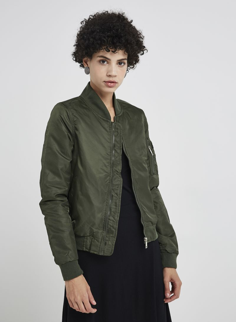a03401c1e Shop Brave Soul Nylon Twill Bomber Jacket With Contrast Lining Khaki online  in Dubai, Abu Dhabi and all UAE