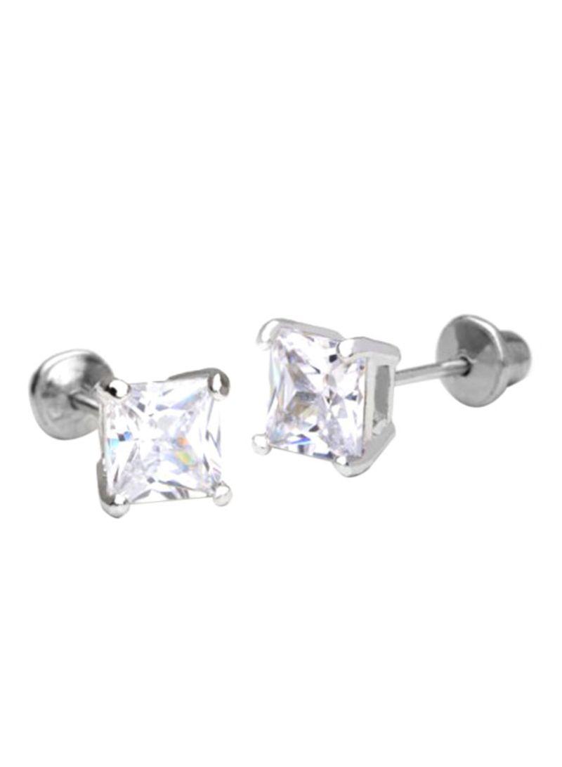 b8e5fdd6d1 Rhodium Plated 925 Sterling Silver Princess Cut Cubic Zirconia Screwback  Stud Earrings