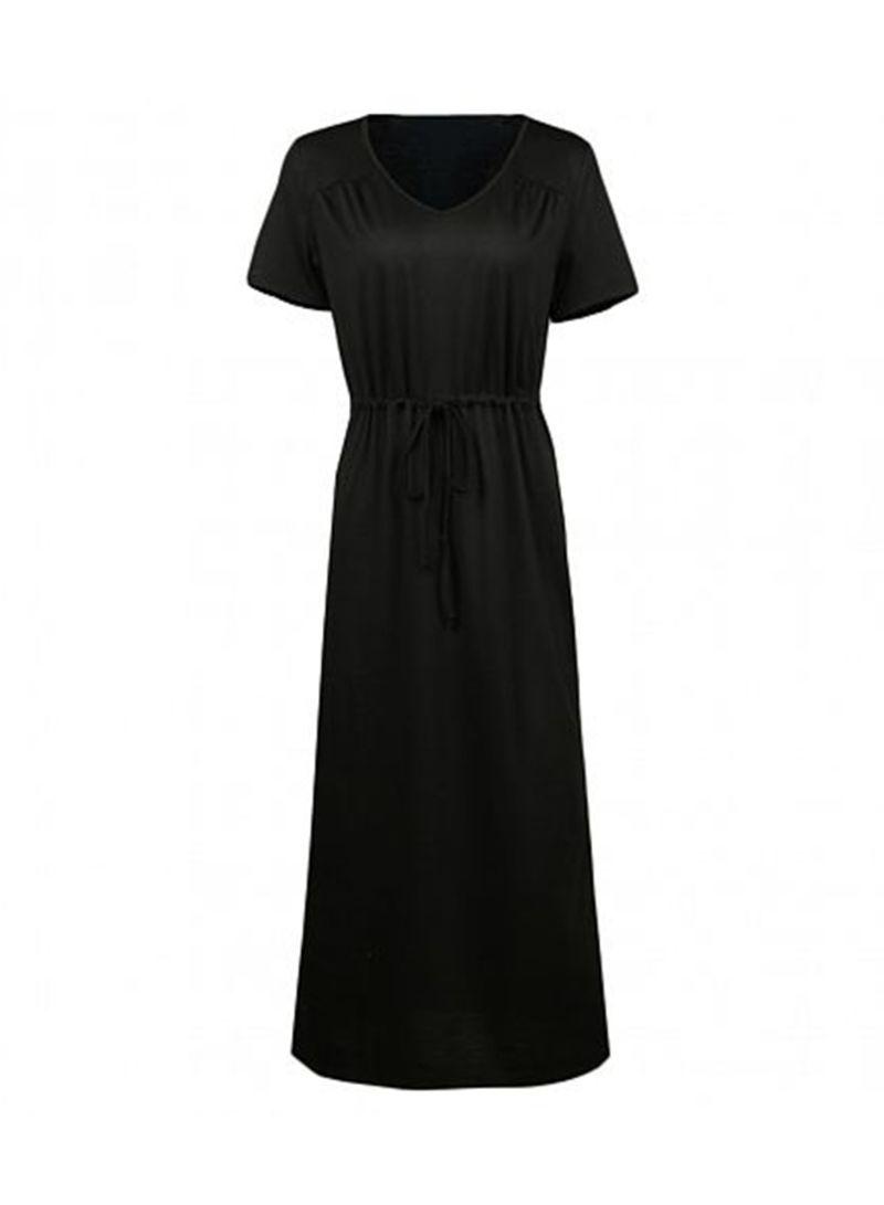 c68c7fec5 تسوق روماتشي وShort Sleeve Elastic Waist Long Maxi Dress أسود ...