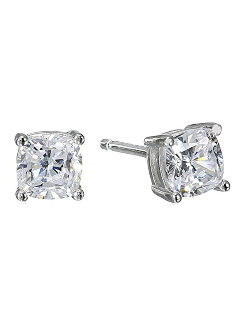 9d467287e Shop Amazon Collection Platinum Plated Sterling Silver Cushion Cut Zircon  Stud Earrings online in Dubai, Abu Dhabi and all UAE