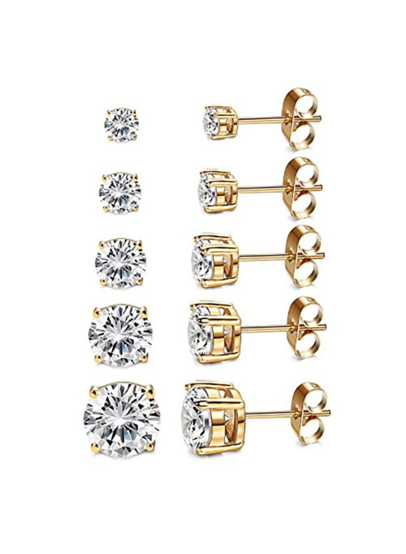 Rhodium Plated Round CZ Stud Earrings Set of 5 Pairs
