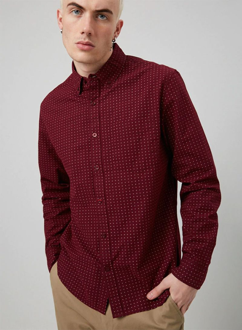 174d71144ae8 Shop Forever 21 Woven Fitted Shirt LS Burgundy/White online in Dubai ...