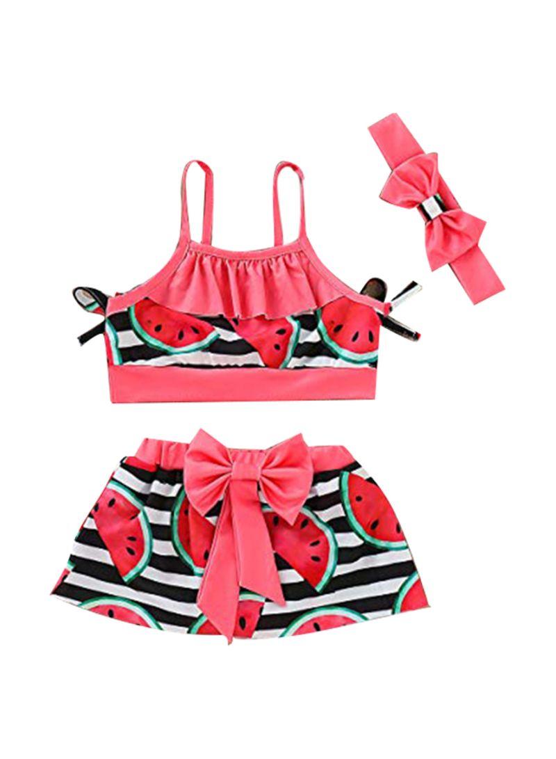 Toddler Baby Girl Swimwear Watermelon Print Bikini Swimsuit+Headband Outfits Set