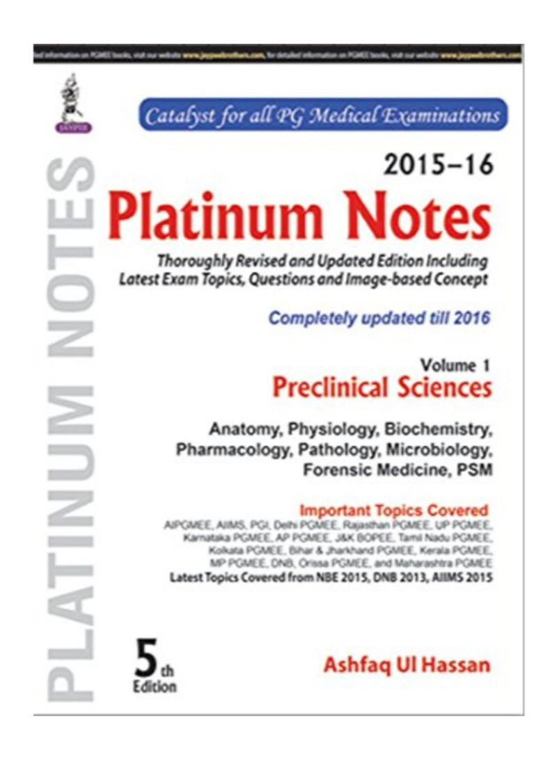 Shop Platinum Notes Paperback 5th Edition online in Egypt
