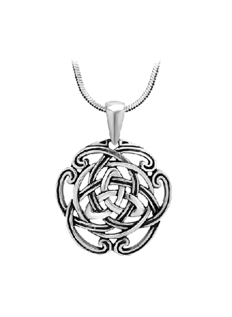 Silvershake 925 Sterling Silver Triquetra Celtic Knot Pendant with 18 Inches Necklace