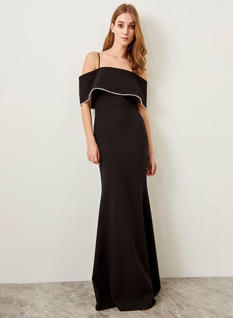 7cf9714312316 Shop Trendyol Ruffle Detail Gown Black online in Dubai, Abu Dhabi ...