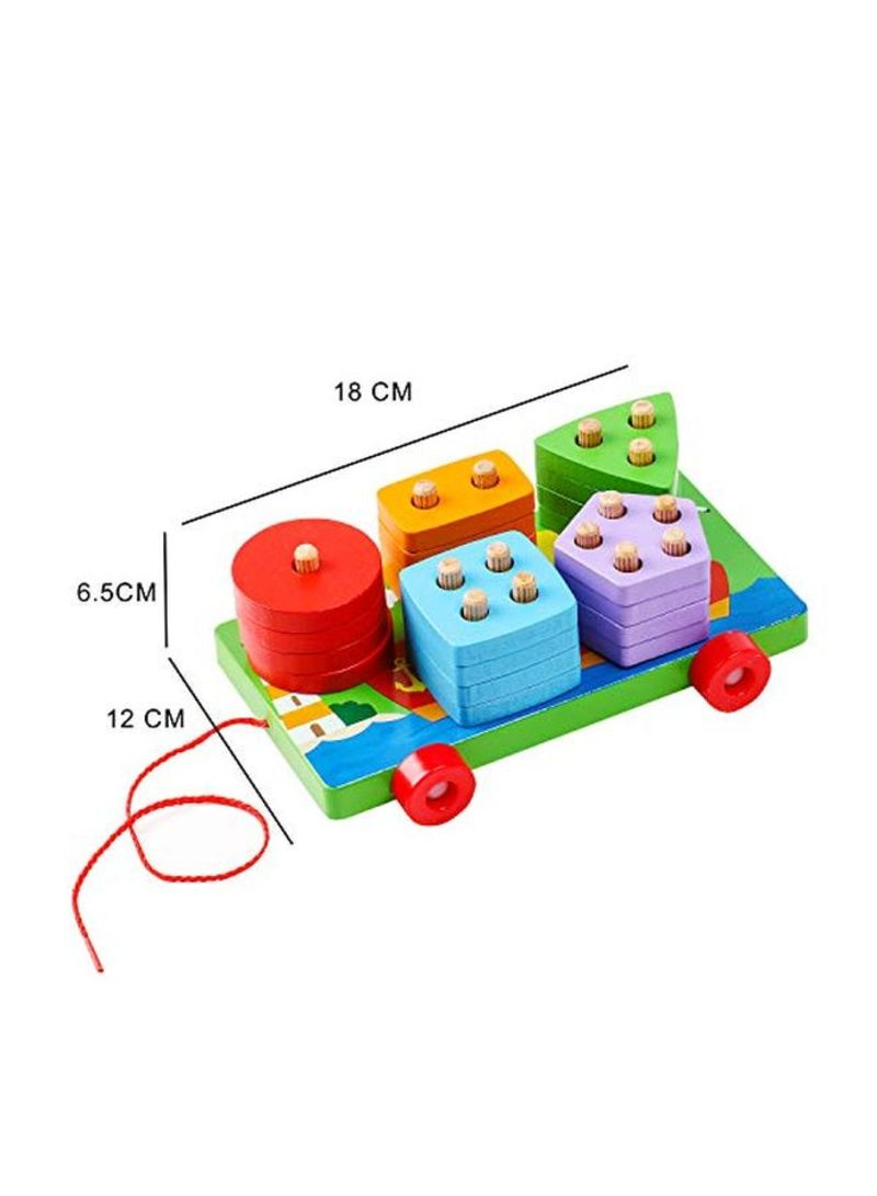 kizh Wooden Educational Preschool Shape Color Recognition Trailers Car Geometric Board Block Stack Sort Chunky Puzzle Toys 25 pcs for 1-5 Year Old Boys Girls Kids Baby Toddlers Children