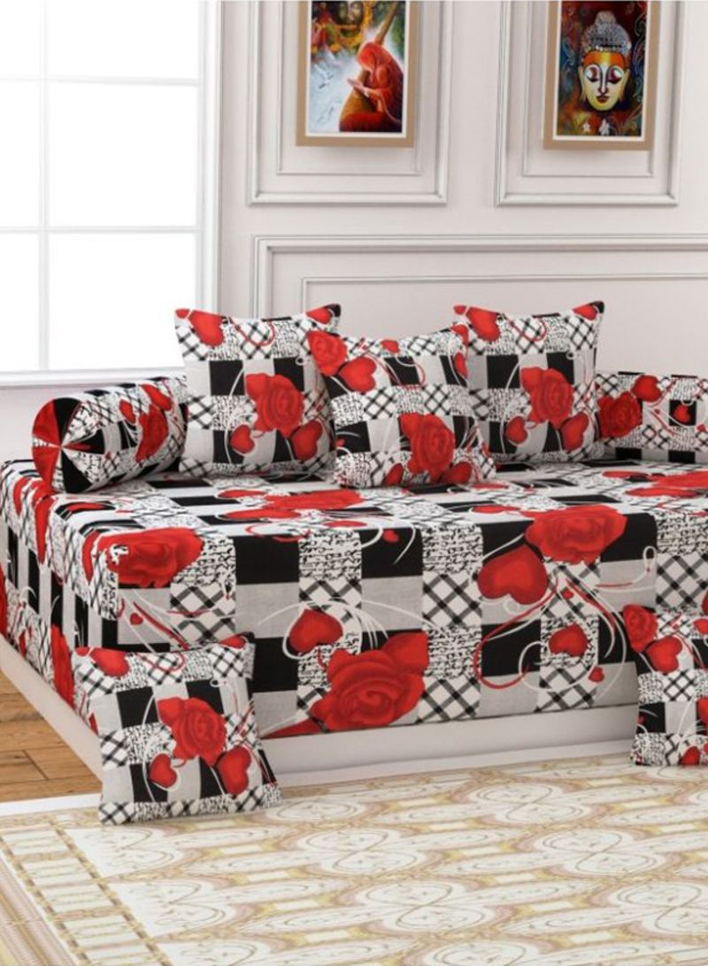 Incredible Shop Homefab India 8 Piece Floral Printed Diwan Set Cotton Ncnpc Chair Design For Home Ncnpcorg