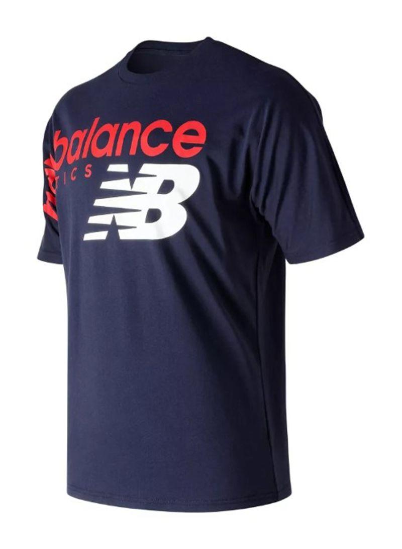 8b05461e19 Shop New Balance Athletics Crossover Tee Short Sleeve T-Shirt Blue ...