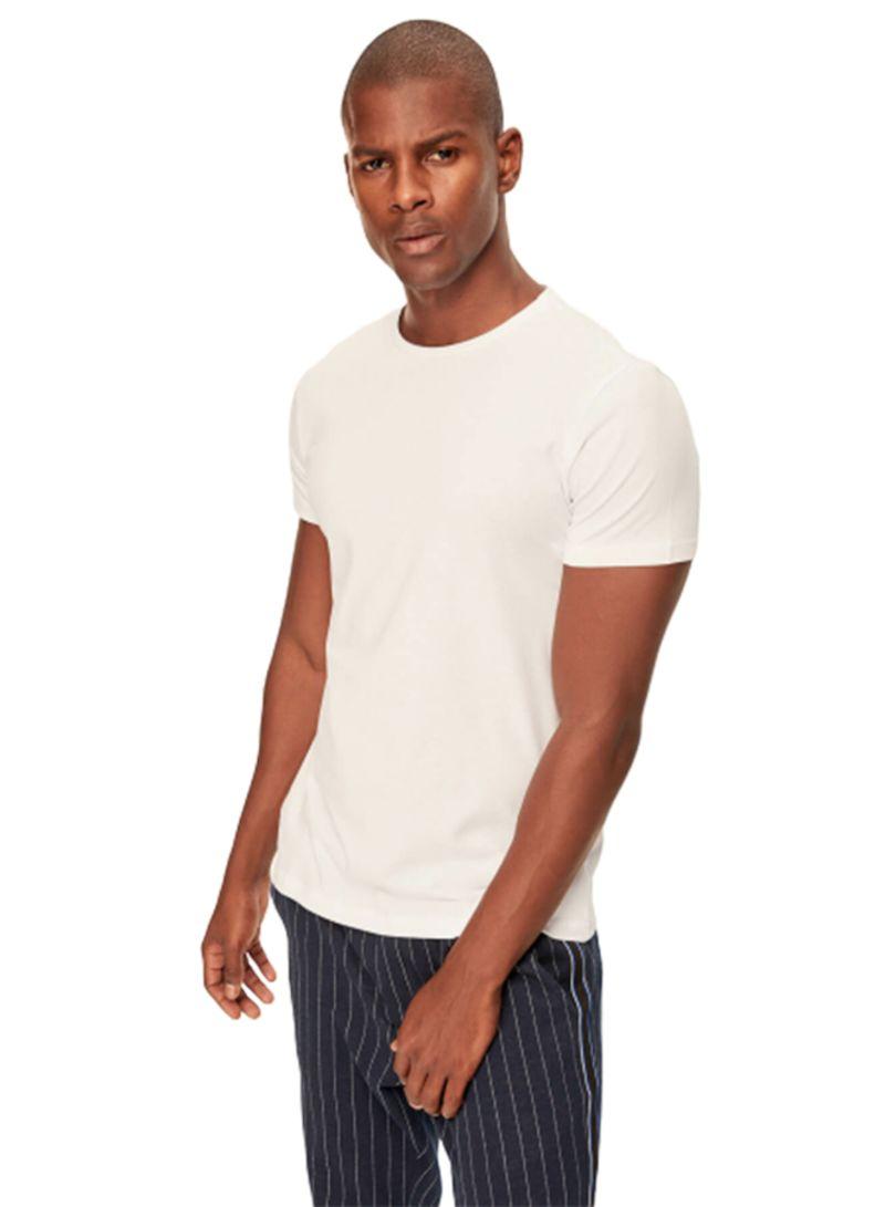bb52fc8fb Shop Trendyol Round Neck T Shirt White White online in Dubai, Abu ...