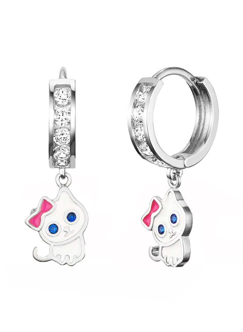 4aa84d97a481c Shop Children Earrings by Lovearing Rhodium Plated 925 Sterling Silver Cat  Hoop Earrings With Cubic Zirconia online in Dubai, Abu Dhabi and all UAE