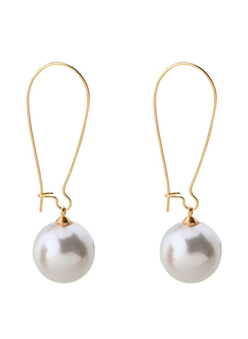 blackbox Jewelry Sterling Silver White Cubic Zirconia Simulated Shell Pearl Dangle Earrings