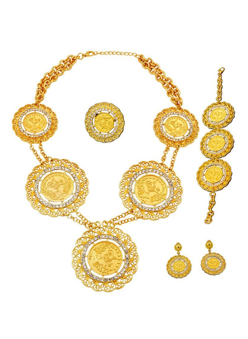 4fcbf1ca03 Shop Liffly 18 Karat Gold Plated Weddings Necklace Earrings Set ...