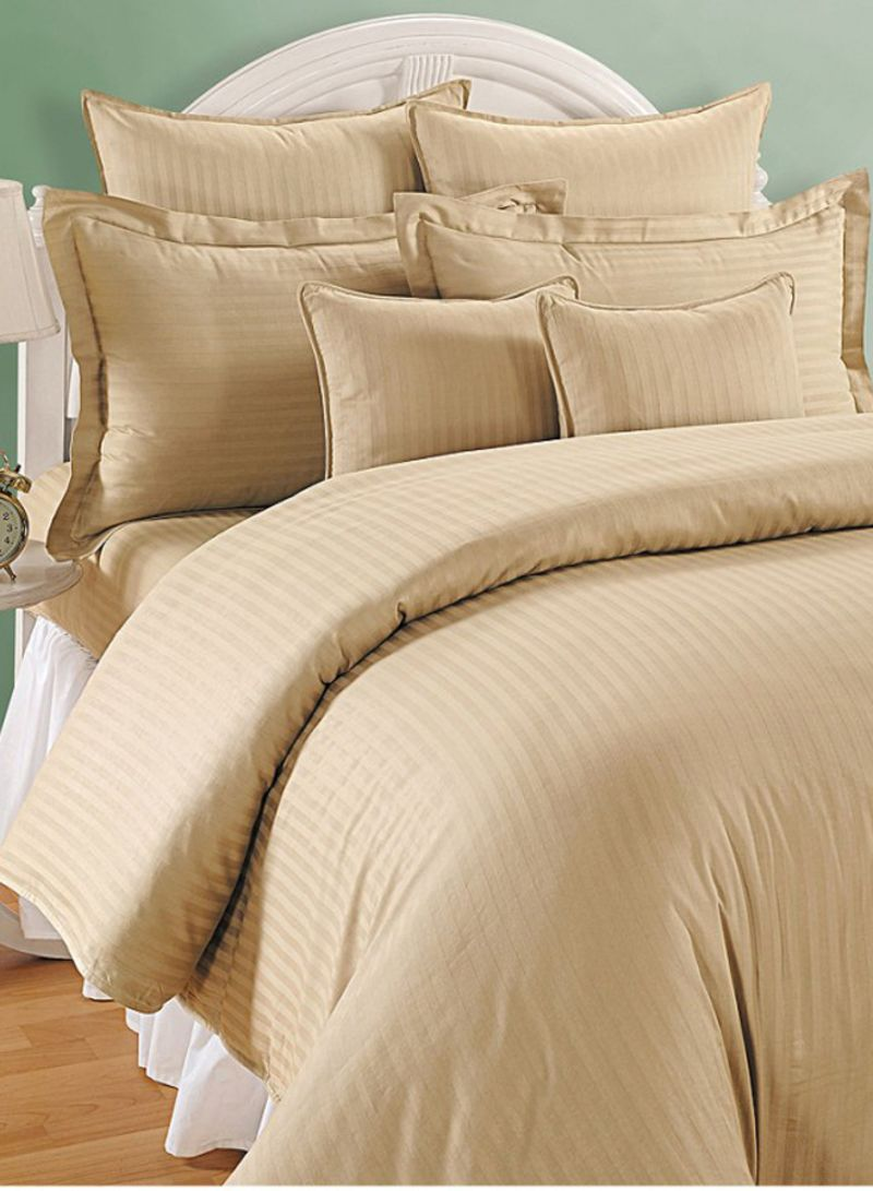 Striped Bed Sheet Set With 2 Pillow Cover Cotton Yellow Brown White Double Price In Uae Noon Uae Kanbkam