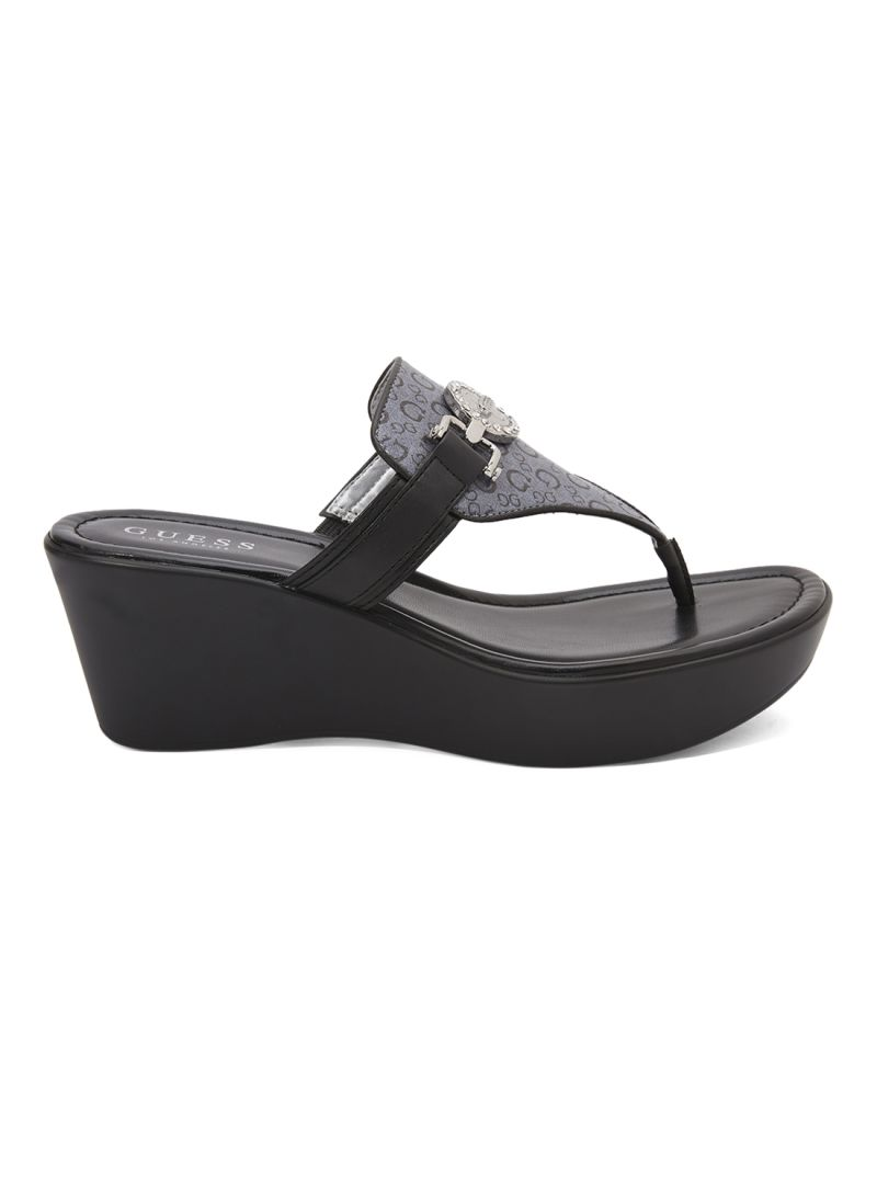 guess black wedge sandals