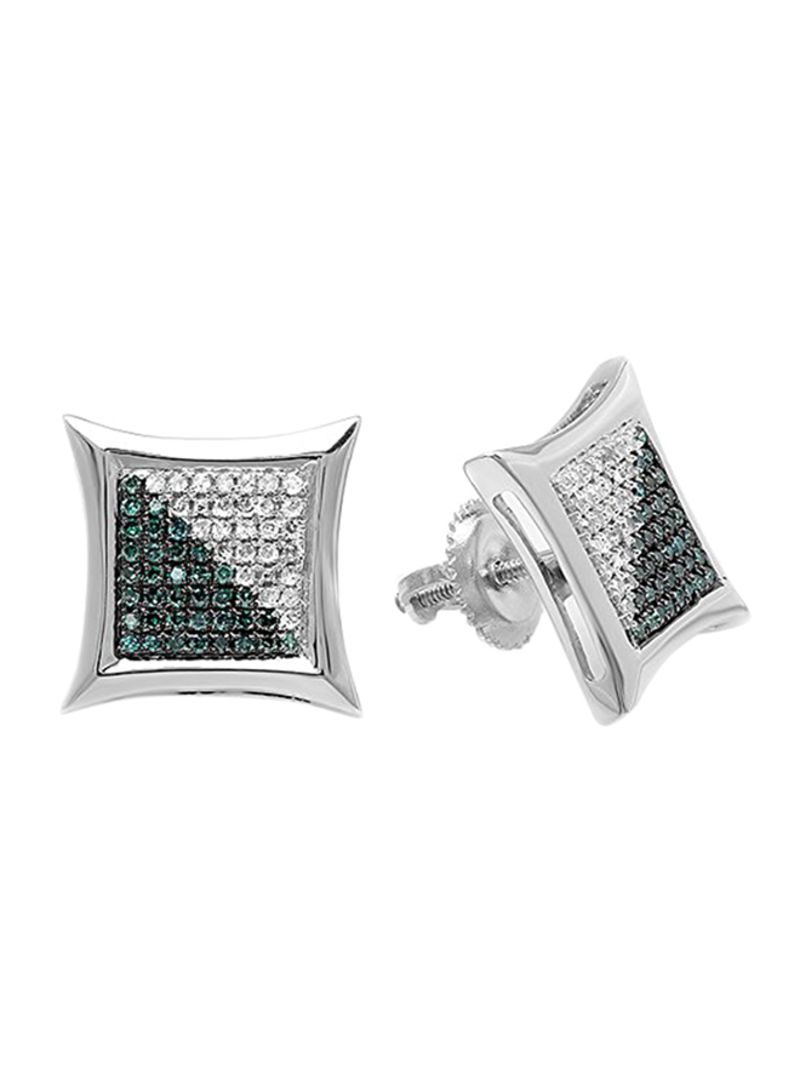 fae493dc9 925 Sterling Silver 0.38 Ct White Diamond Kite Shape Stud Earrings