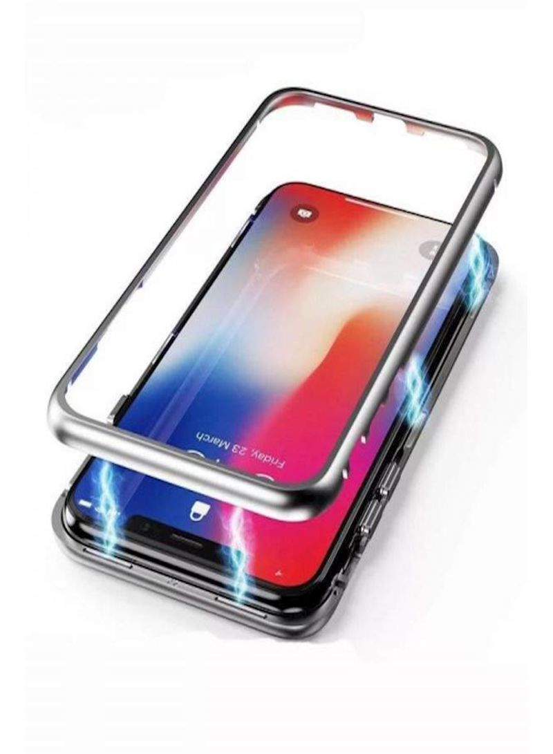 0c08a01460e 360 Degree Full Protective Metal Frame Tempe Glass Back Cover Case Magnetic  Adsorption Phone Case for iPhone X Clear & Silver