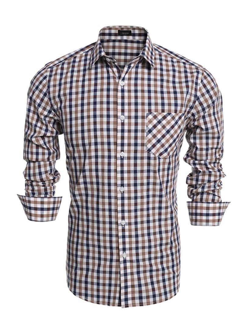 GenericMen Fashion Long Sleeve Plaid Button Down Shirt Casual Dress Shirt