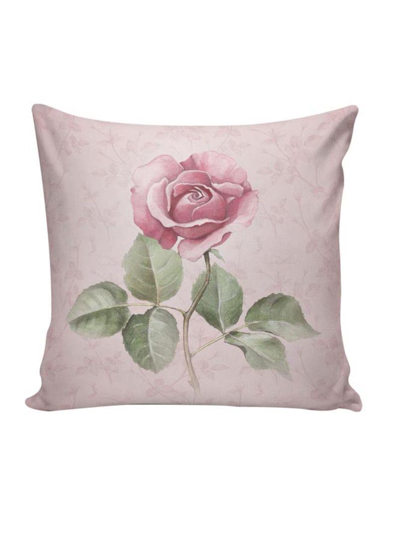 Nkrlnt 038 Printed Cushion Cover Cotton Blend Beige Pink Green 45x45 Centimeter