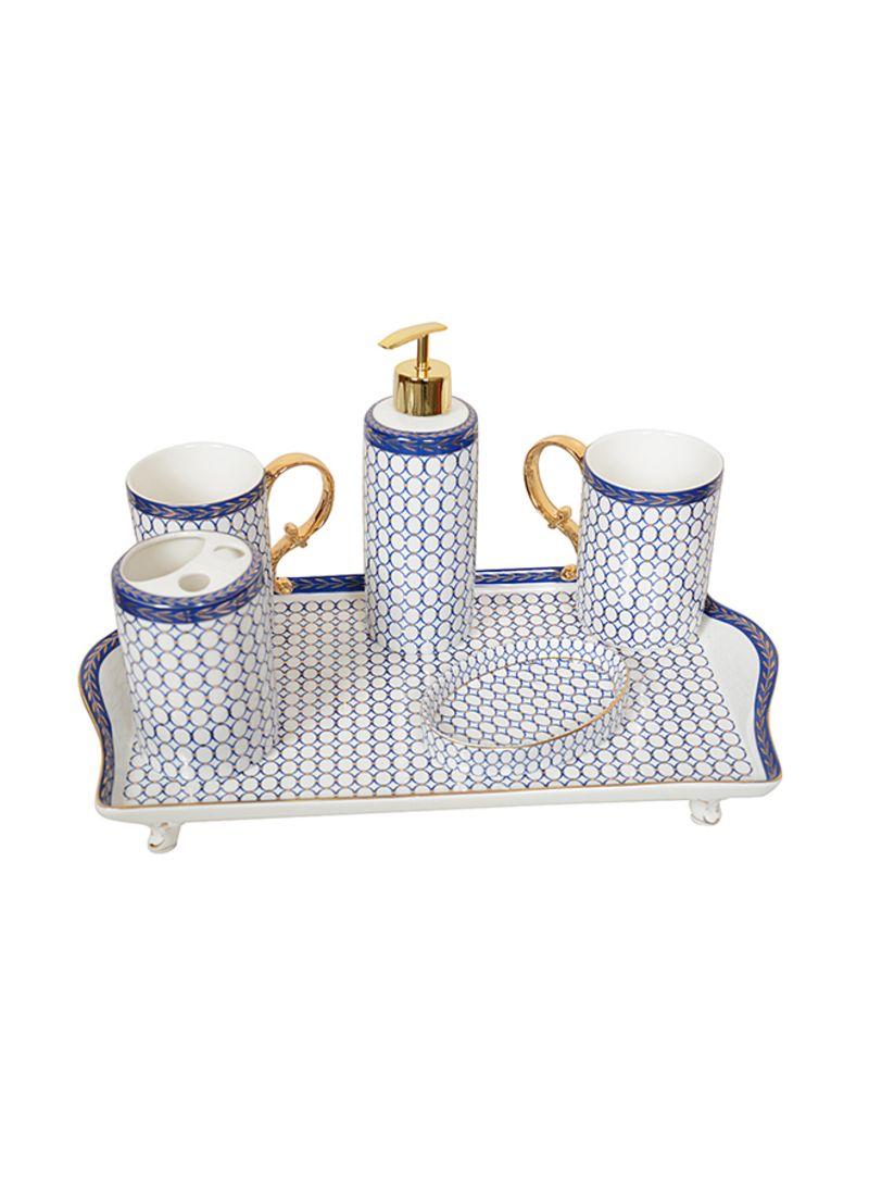 6 Piece Luxury Bathroom Accessories Set White Gold Blue 9centimeter Price In Saudi Arabia Noon Saudi Arabia Kanbkam