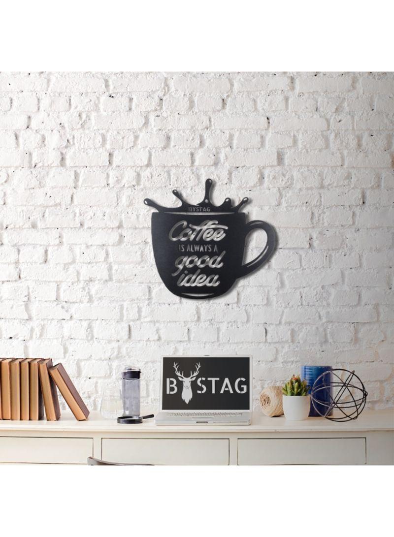 Decorative Coffee Glass Wall Art Black 49x50 Centimeter