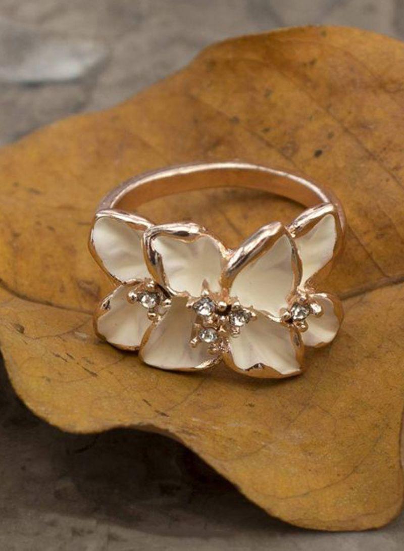 Shiny Topaz Crystal Rhinestone 18K Yellow Gold Filled Signet Ring For Women