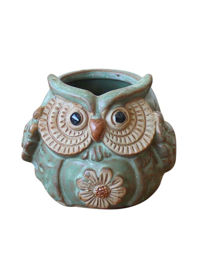 262 & Shop Generic Ceramic Owl Shaped Flower Pot Green/Brown/Black ...