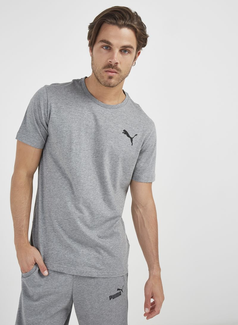 Shop Puma ESS Logo T Shirt Medium Grey Heather _Cat online