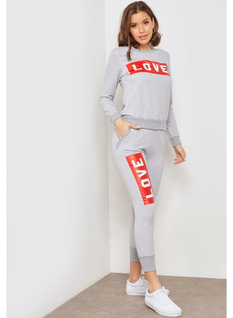 507473aab66 Shop Ginger By Namshi Slogan Joggers Set Grey online in Dubai