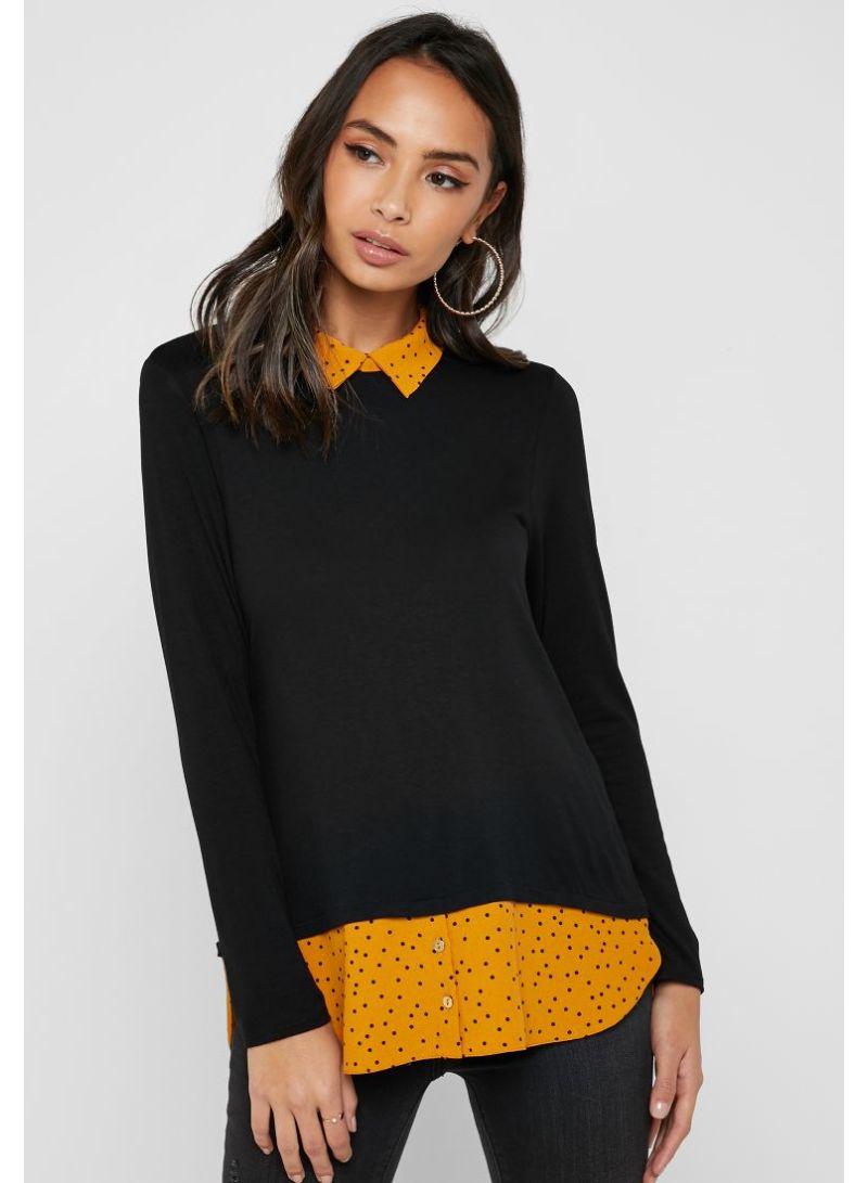 f3f589df372 Shop Dorothy Perkins Petite Polka Dot 2 in 1 Collar Top Black online ...