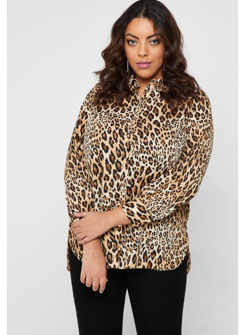 8c4e5e9fde Shop Dorothy Perkins Curve Animal Print Long Sleeve Shirt ...