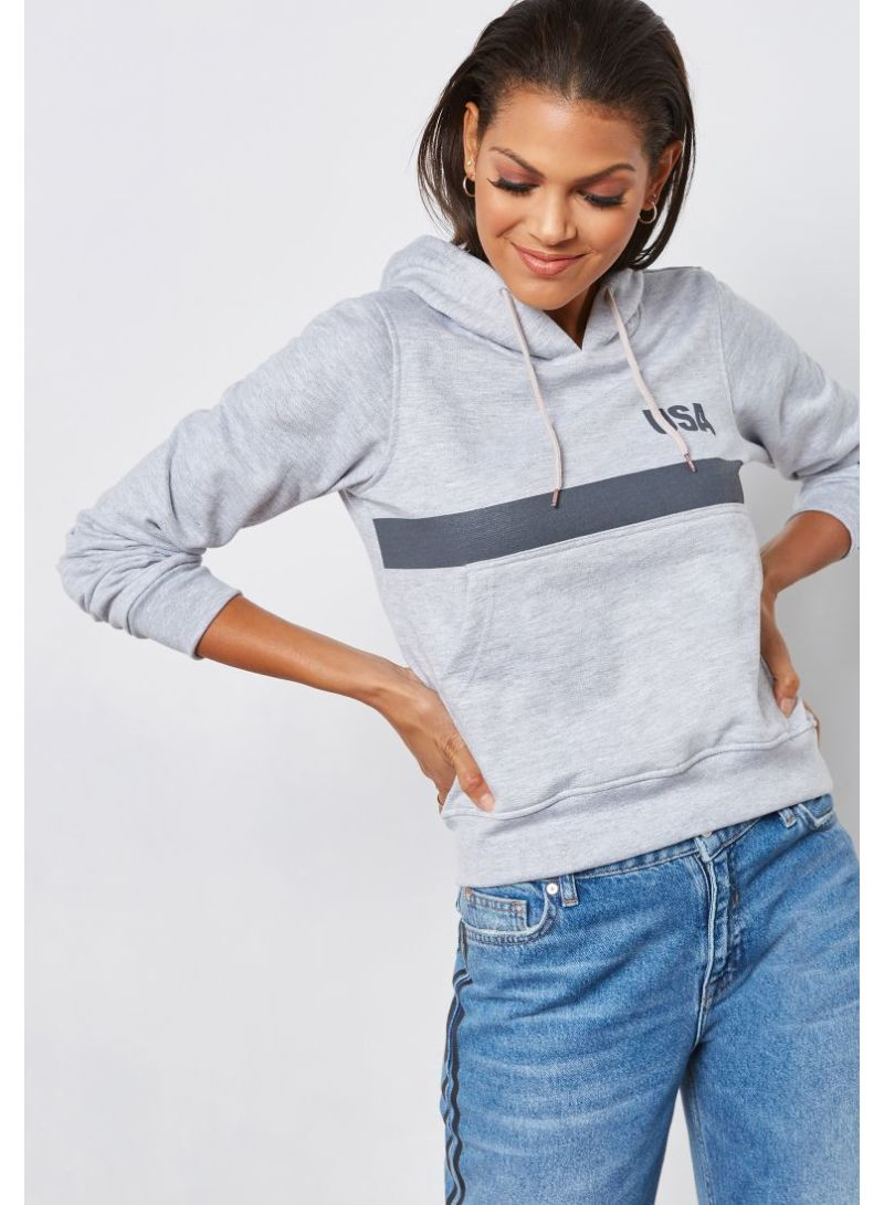 964ac8864db Shop Ginger By Namshi Slogan Front Pocket Hoodie Grey online in ...