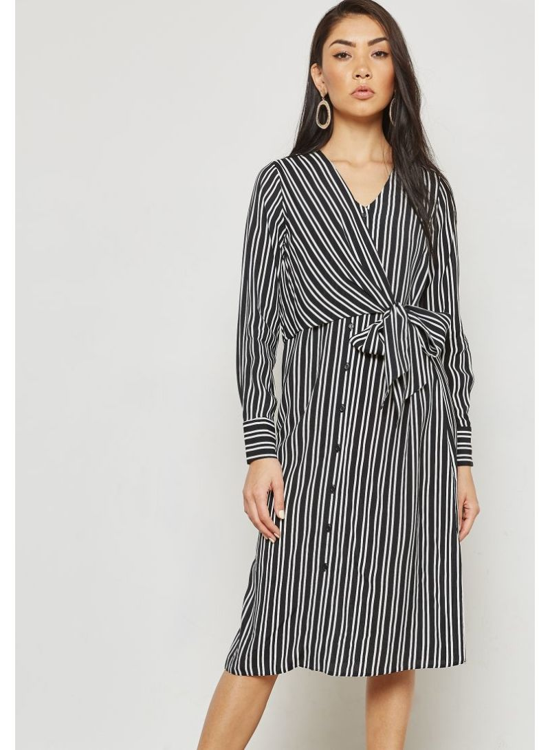 712d935b86b Shop Dorothy Perkins Stripe Tie Front Shirt Dress Black online in ...