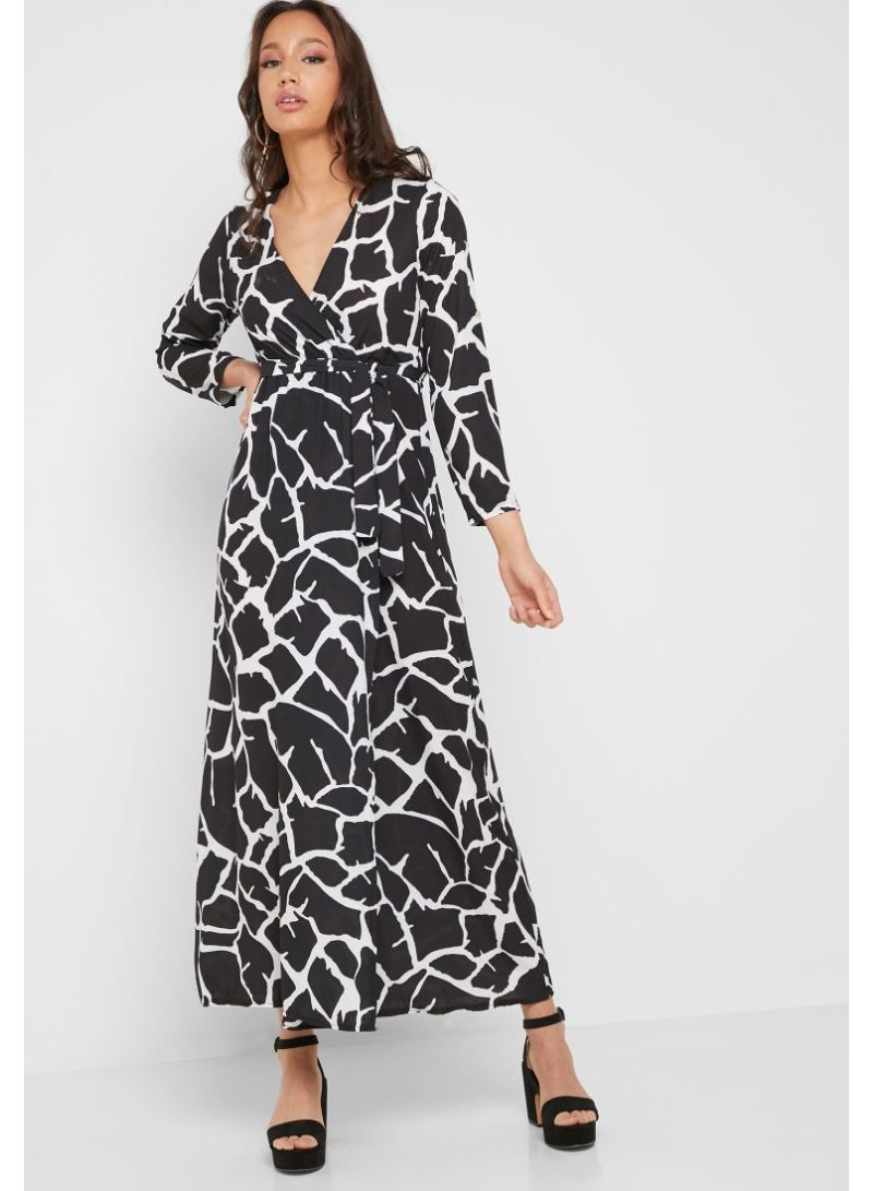 0ce576cb15 Shop Ginger By Namshi Printed Wrap Front Maxi Dress Multicolour ...
