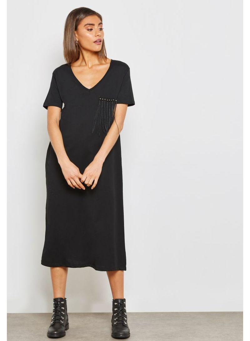 11200013547d Shop Ginger By Namshi Detailed Fringed Chest T-Shirt Dress Black ...
