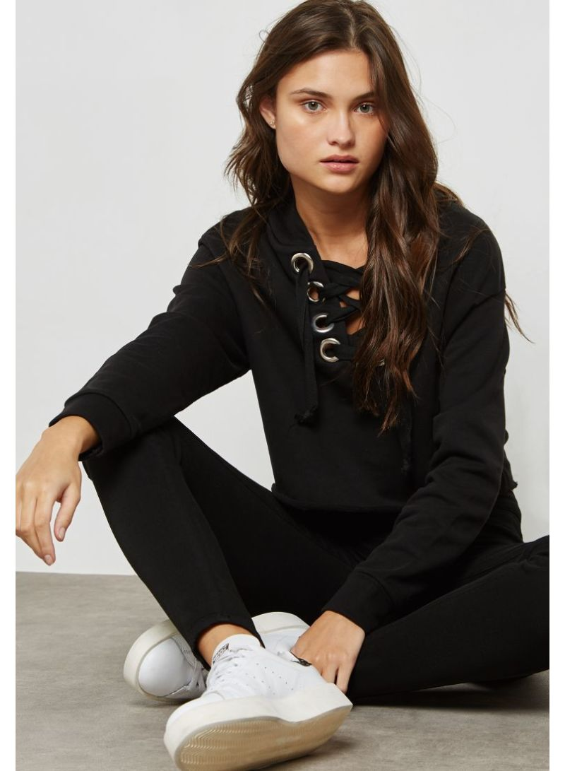 Shop Ginger By Namshi Lace Up Hoodie Black online in Dubai