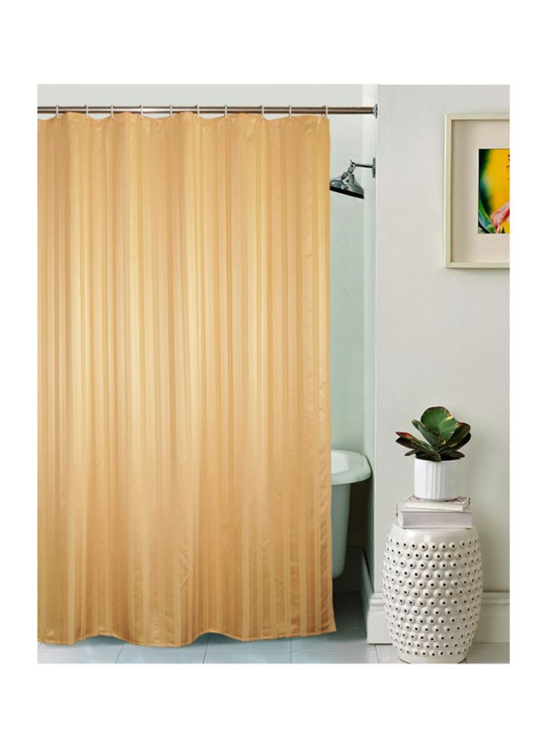 Polyester Striped Shower Curtain ذهبي 200 X 182 88 سنتيمتر