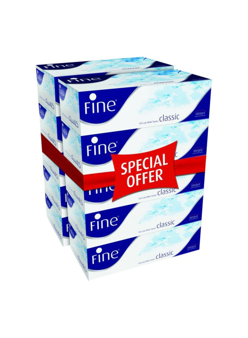 150-Piece Classic Facial Tissue Set Pack Of 10 White