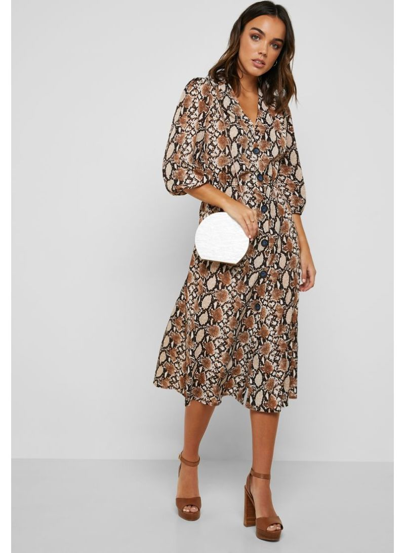 c90402be4103 Shop Ella By Namshi Snake Print Button Down Midi Dress Snakeskin ...